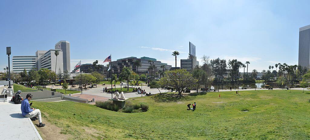 Panoramic view of the park at the La Brea Tar Pits, Los Angeles, California.